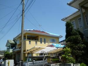 地震現場屋根 シート張り