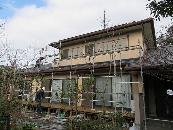 福岡県大牟田市 米生町において外壁の塗装。  太洋瓦総工の画像