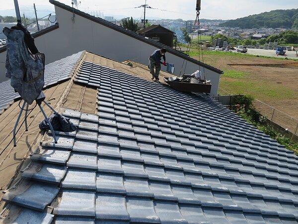 荒尾市宮内において、屋根瓦の葺き替え:::太洋瓦総工の画像